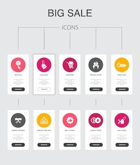 Grote verkoop infographic 10 stappen ui design.discount, winkelen, speciale aanbieding, beste keuze eenvoudige pictogrammen