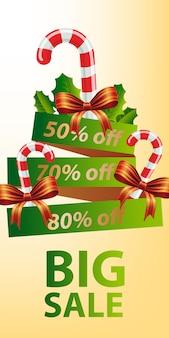 Grote verkoop kerst banner ontwerp. zuurstokken