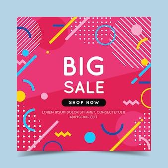 Grote verkoop kleurrijke banner met trendy abstracte geometrische elementen en helder.