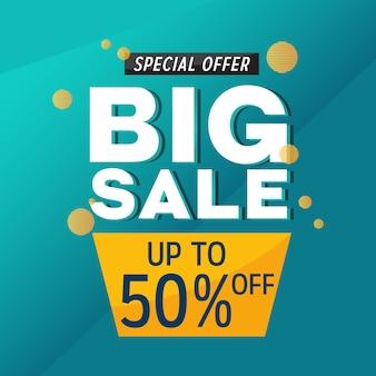 Grote verkoop korting aanbieding promotie web app banner vectorillustratie