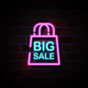 Grote verkoop met zak pictogram neon stijl teken illustratie