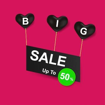 Grote verkoop met zwarte hartballonnen