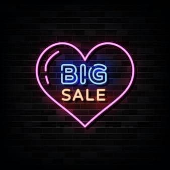 Grote verkoop neonreclames. ontwerpsjabloon neon stijl