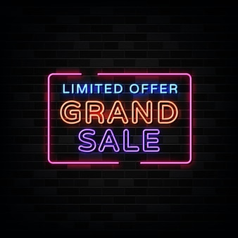 Grote verkoop neonreclames. ontwerpsjabloon neon teken
