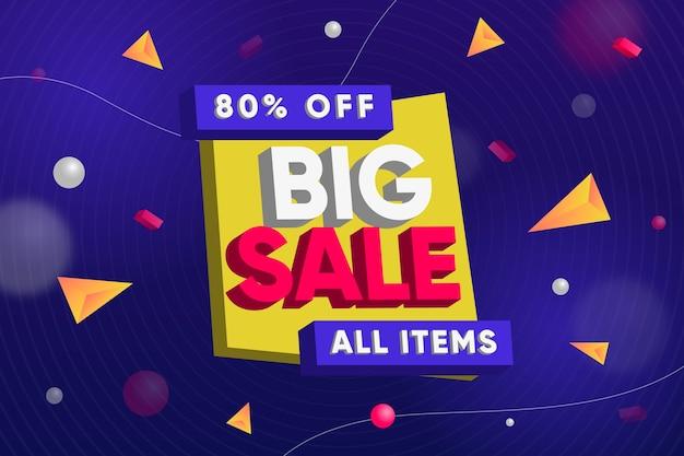 Grote verkoop op alle items 3d achtergrond