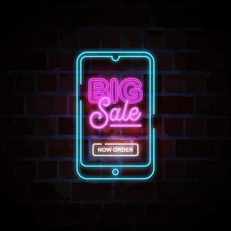 Grote verkoop op smartphone neon stijl teken illustratie