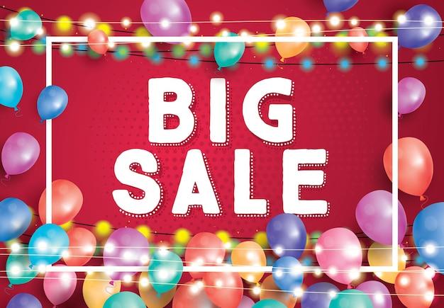 Grote verkoop poster op rode achtergrond met vliegende ballonnen, wit frame en neon garland. vectorillustratie. grote verkoopbanner.