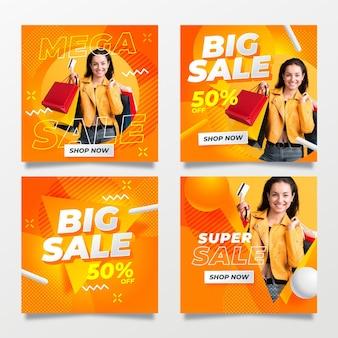 Grote verkoop posts op sociale media