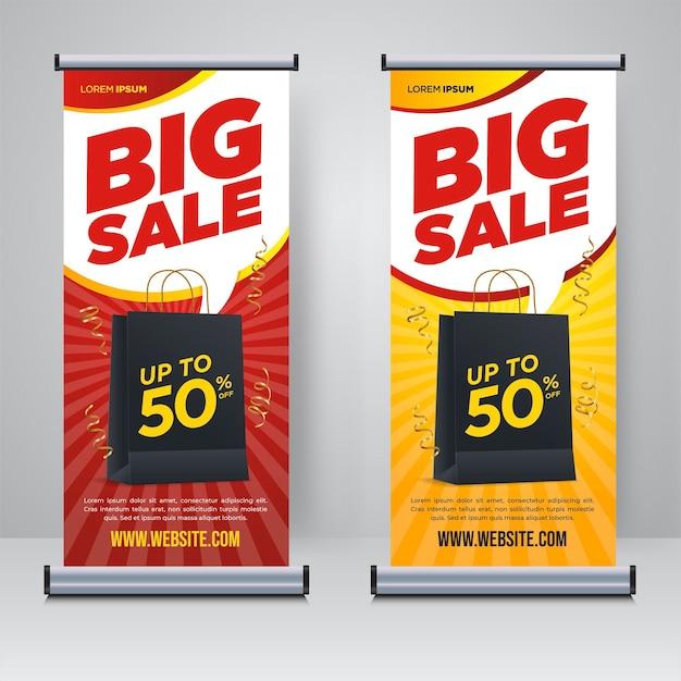 Grote verkoop promotie rollup of x banner ontwerpsjabloon