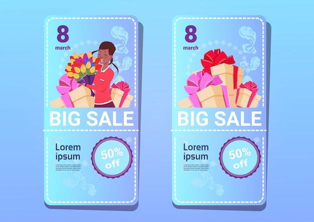 Grote verkoop stickers voor 8 maart sjabloon logo internationale vrouwendag korting en promotie poster concept
