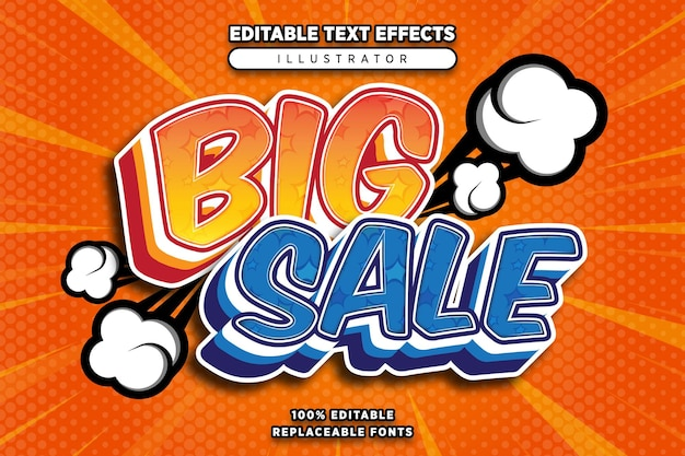 Grote verkoop teksteffect bewerkbaar in komische stijl