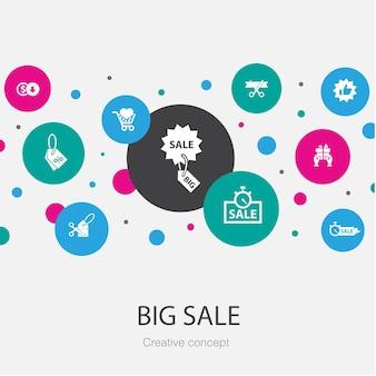 Grote verkoop trendy cirkel sjabloon met eenvoudige pictogrammen. bevat elementen als korting, winkelen, speciale aanbieding, beste keuze