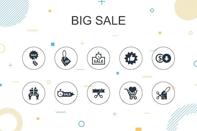 Grote verkoop trendy infographic sjabloon. dun lijnontwerp met korting, winkelen, speciale aanbieding, beste keuzepictogrammen