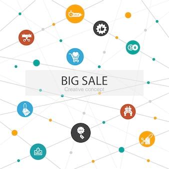 Grote verkoop trendy websjabloon met eenvoudige pictogrammen. bevat elementen als korting, winkelen, speciale aanbieding, beste keuze