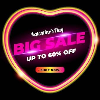 Grote verkoop valentijnsdag banner met neoneffect
