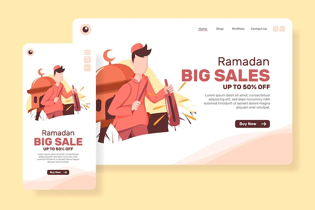Grote verkoop van bestemmingspagina voor ramadan met moslimmensen