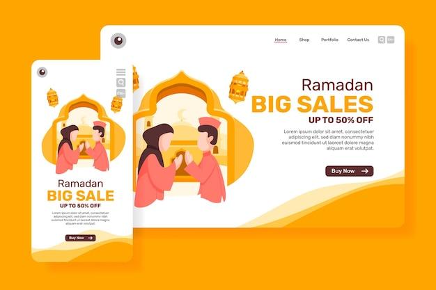 Grote verkoop van de leidende pagina voor ramadan met illustratie moslimmensen