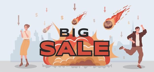 Grote verkoop vector platte banner ontwerp mensen vieren verkoop groot Premium Vector