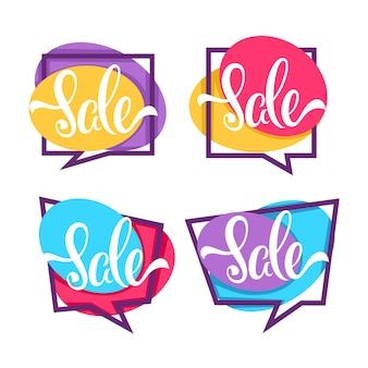 Grote verkoop, verzameling van heldere korting bubble tags, banners en stickers geïsoleerd op een witte achtergrond