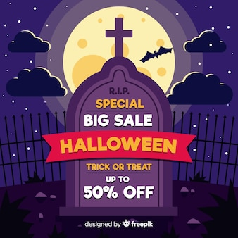 Grote verkoop voor halloween-begraafplaats op volle maan