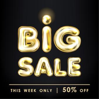 Grote verkoop zwarte banner met gouden ballon belettering