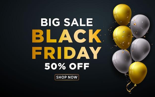 Grote verkoop zwarte vrijdag banner met realistische gouden ballonnen