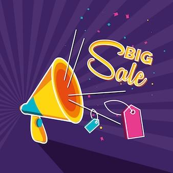 Grote verkoopbanner met megafoon en tags