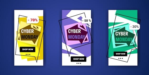 Grote verkoopbanners instellen cyber maandag speciale aanbieding promo marketing vakantie shopping concept advertentiecampagne online mobiele app