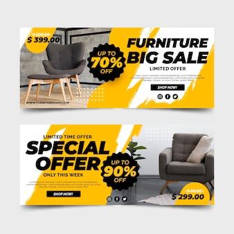 Grote verkoopbanners voor meubels