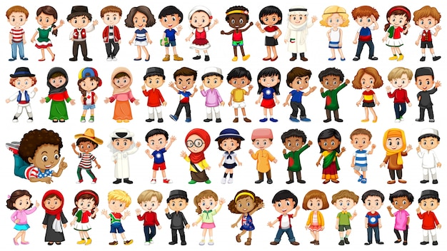 Grote verzameling etnische mensen