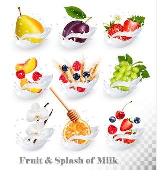Grote verzameling fruit in een melkplons. framboos, aardbei, mango, vanille, perzik, appel, honing, sinaasappel, peer, druiven.