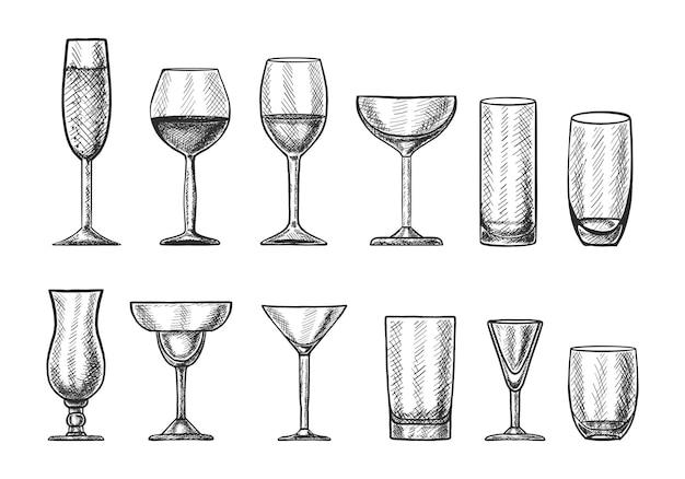 Grote verzameling handgetekende cocktailglazen voor verschillende dranken.