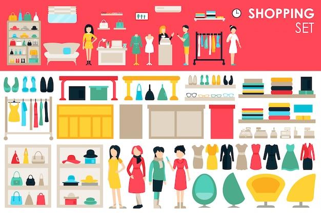 Grote verzameling in platte ontwerp achtergrond concept winkelen