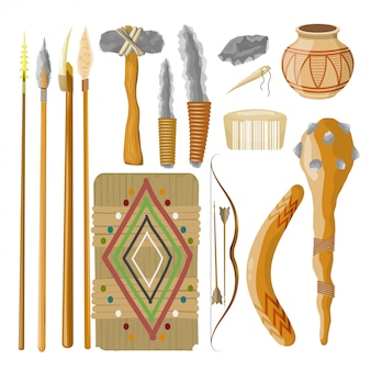 Grote verzameling items oude mensen. prehistorische objecten. vector illustratie