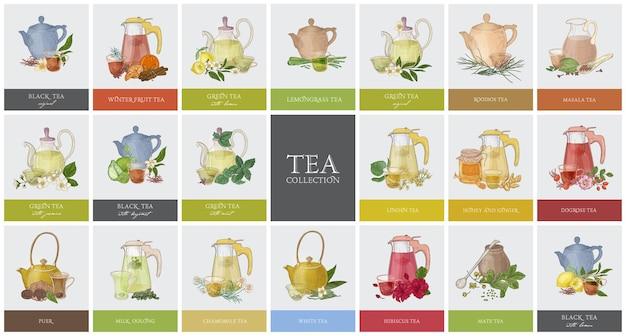 Grote verzameling labels of tags met verschillende soorten thee - zwart, groen, rooibos, masala, mate, puer. set handgetekende smakelijke gearomatiseerde dranken, theepotten, kopjes en kruiden. kleurrijke vectorillustratie.