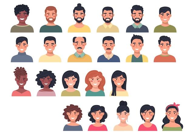 Grote verzameling mannelijke en vrouwelijke avatars