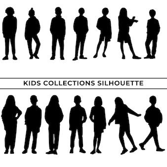 Grote verzameling meisjes of kinderen silhouetten in verschillende poses set