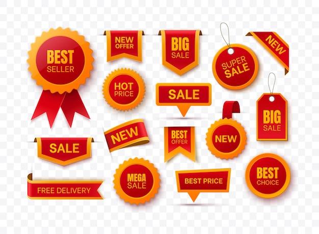 Grote verzameling rode prijskaartjes, promolabels en kortingsbadges. nieuwe aanbiedingstags. verkoop linten