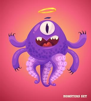 Grote verzameling schattige monsters. halloween karakter. vector illustraties. goed voor boekillustraties, tijdschriftafdrukken of tijdschriftartikelen.