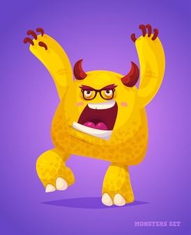 Grote verzameling schattige monsters. halloween karakter.