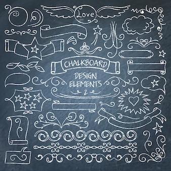 Grote verzameling schoolbord elementen