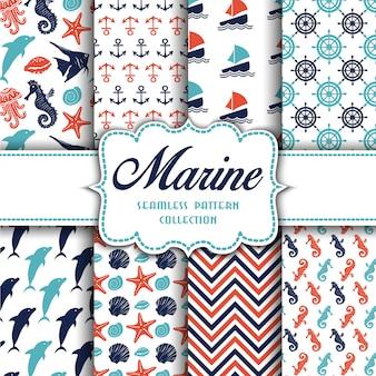 Grote verzameling van naadloze patronen met mariene elementen