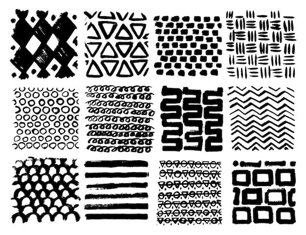 Grote verzameling van verschillende zelfgemaakte texturen gemaakt door inkt op witte achtergrond