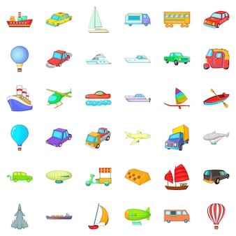 Grote voertuig iconen set, cartoon stijl