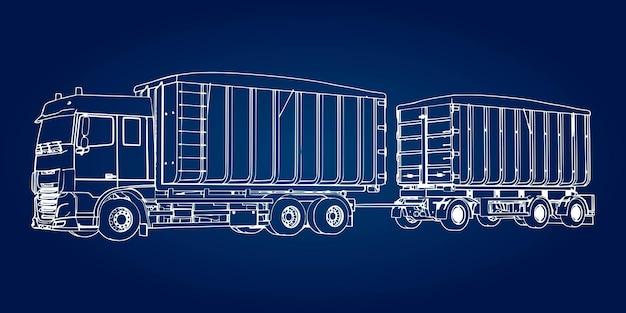 Grote vrachtwagen met losse aanhanger, voor het vervoer van agrarische en bouwbulkmaterialen en producten.