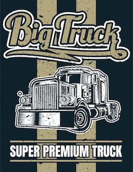 Grote vrachtwagen vintage poster