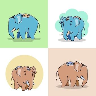 Grote vriendelijke olifant staande wandelende dierentuin stripfiguur