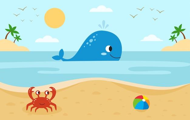Grote walvis in de zee. rode krab op het strand. zee landschap.