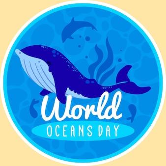 Grote walvis platte wereld oceanen dag