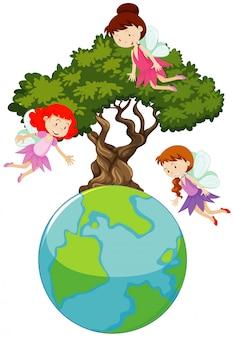 Grote wereld en drie feeën die rond de grote boom vliegen